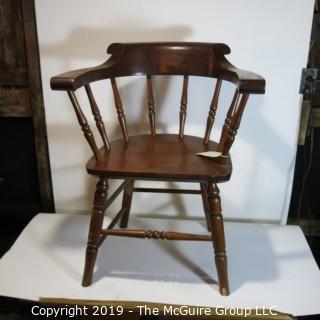 Furniture: Vintage: Antique: Arm Chair: Spindle: Captains style - dark wood