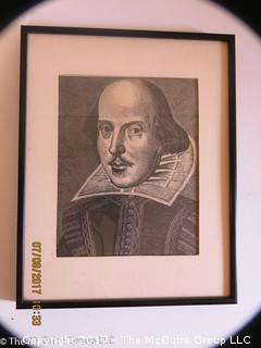 Framed etching of William Shakespeare; 11 1/2 x 14 1/2