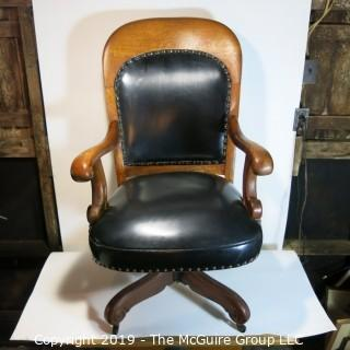 Furniture: Vintage: Antique: HEAVY Leather Office Chair on Casters
