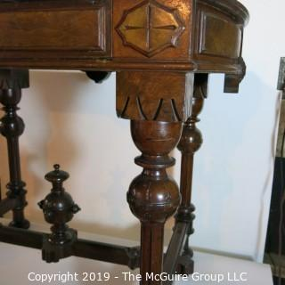 Furniture: Vintage: Antique: EastLake Pedestal Carved Writing Table w/Black Leather Surface and 1 Drawer