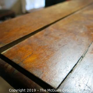 Furniture: Vintage: Antique: Square Eastlake Pedestal Carved Table (distressed)