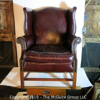 Furniture: Vintage: Antique: HEAVY Leather Office Arm Chair Burgundy Leather (cracked leather)