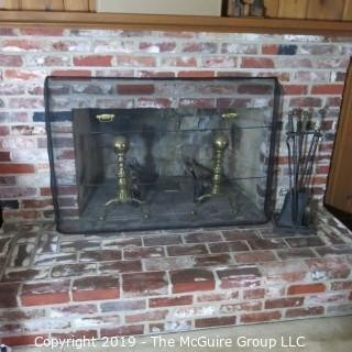 """Furniture: Vintage: Antique: Fireplace Items: Andirons, Screen, Tool Set; 51W 8D x 33""""T"""