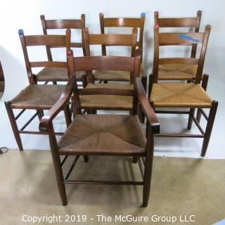 """Furniture: Vintage: Antique: (6) Coil Woven Ladder-back side chairs and (1) Arm Chair; 19W x 15D x 35""""T"""
