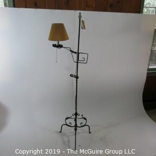 Lighting: Vintage: Tri-Footed Iron Adjustible Pole Lamp
