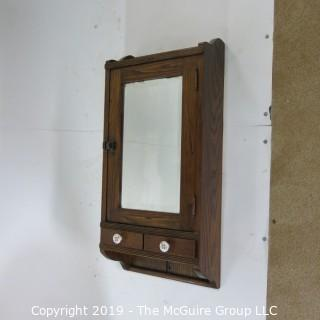 "Furniture: Vintage: Antique: Spindle: Walnut?Bathroom Cabinet w/Mirror; 15W x 8D x 30""T"