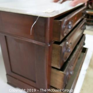Furniture: Vintage: Antique: 3-Drawer Chest w/White Marble Top (hidden lower 4th drawer)