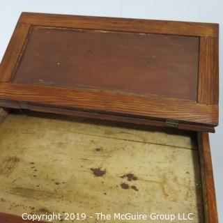 "Furniture: Vintage: Antique: Standup Writing Desk Felt top, 4-drawers, Spindle Legs; 30W x 21D 37""T"