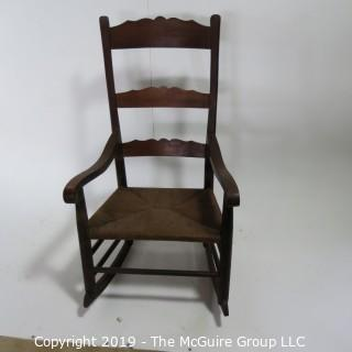 """Furniture: Vintage: Antique: Coil Woven Ladder-back Rocking Chair Spindle; 23 1/2W x 16D x 41""""T"""