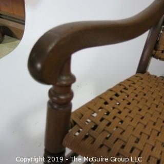 Furniture: Vintage: Antique: Tri-strand Cain Woven Rocking Arm Chair Spindle