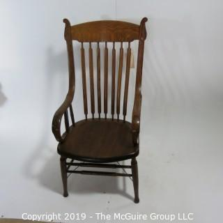 "Furniture: Vintage: Antique: Bent Arm Chair: Flat Spindles: 29W (outer edge to edge) 21W x 19 1/4D x 42 1/2""T"