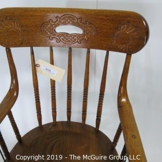 """Furniture: Vintage: Antique: Arm Chair: Spindle: Embossed Wood; 21W x 18D x 36""""T"""
