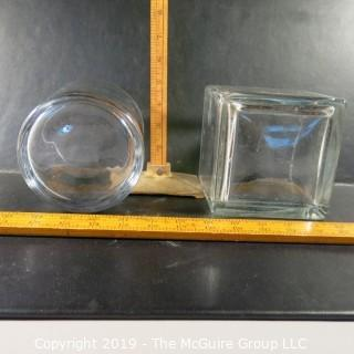 Glass open containers: round & square