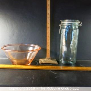 Glass: Kitched: VTG Bowl and tall canning jar