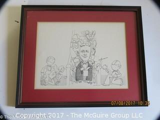 Framed cartoon of scribe; 11 1/4 x 14 1/2