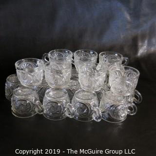 Glass: EAPG: Tri-section Punch Bowl and Matching Glasses - Possibly Fostoria? Pin-wheel Pattern