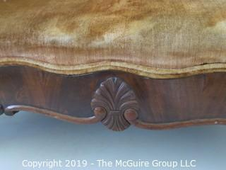 """Furniture: Vintage: Antique: Victorian Velvet Sofa/Settee with Floral and Acanthus Carved Top; Flame veneers; 66W x 26D x 33""""T"""