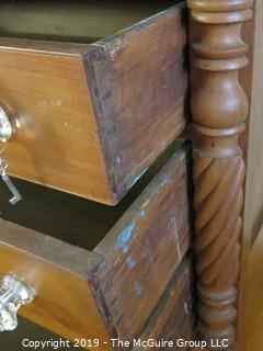 "Furniture: Vintage: Antique: 4-Drawer Chest; 45W x 22D x 47""T (missing 1 glass knob)"