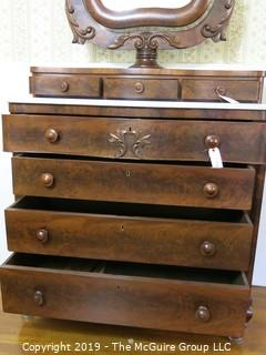 """Furniture: Vintage: Antique: 4-Drawer Chest w/White Marble Top and tilt mirror; chest is 43 1/2W x 48""""T; mirror is 45 1/2""""T (marble slides off for transport)"""