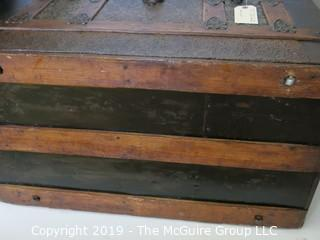 "Furniture: Vintage: Antique: Victorian Camel-back Tin Tooled Trunk on Rollers; 30W x 16 1/2D x 20""T"