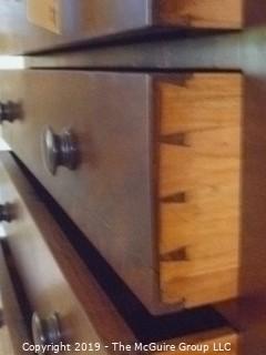 "Furniture: Vintage: Antique: 4-Drawer Flame Veneer Chest with Bun Feet; 45W x 20D x 45""T"