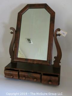 "Furniture: Vintage: Antique: Mahogany Dressing Table Tilting Mirror w/ 3-drawers; hallmarked: Leroy S. Boyd, Arlington, VA 1928; 23W x 8 1/2D x 32""T"