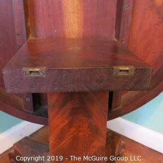"Furniture: Vintage: Antique: 36"" Diameter Flame Mahogany Tilt-Top Table with Centre Column and Quatrefoil Base; 28""T"