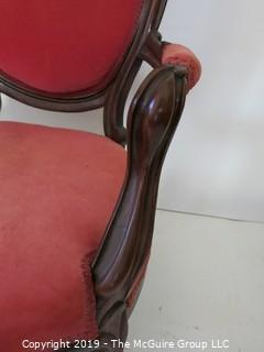 Furniture: Vintage: Antique: Eastlake Carved Camel Back Upholstered Chair Red Velvet.