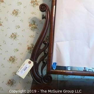 "Furniture: Vintage: Antique: 2 Drawer Swing Dressing Table Mirror w/ side lyre motif; 21W x 10D x 30""T"