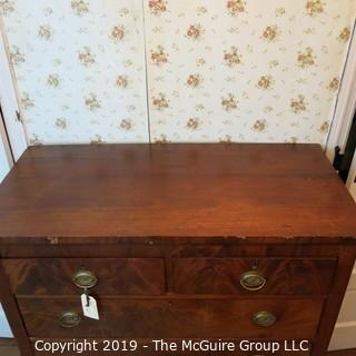 """Furniture: Vintage: Antique: 5-Drawer Mahogany Chest; bookmatched veneers; keyed; 40W x 20D x 44""""T"""