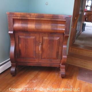 """Furniture: Vintage: Antique: Empire Tall Chest with Lyre and Scrolled Legs, bookmatched flame veneers; 2-drawers over two doors; 43W x 22D x 48""""T"""