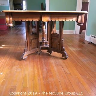 "Furniture: Vintage: Antique: Eastlake Victorian Square Pedestal Dining Table w/ 5 leaves; 44"" square top; each leaf 11""W; height of table 29 1/4""T"