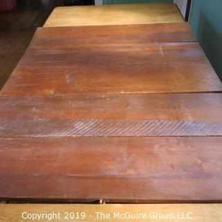 """Furniture: Vintage: Antique: Eastlake Victorian Square Pedestal Dining Table w/ 5 leaves; 44"""" square top; each leaf 11""""W; height of table 29 1/4""""T"""