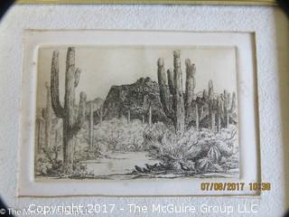 Framed original desert landscape print; 5 1/2 x 7 1/2