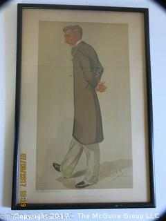 "Framed Vanity Fair Lithograph; ""Spy""; 10 1/2 x 16"