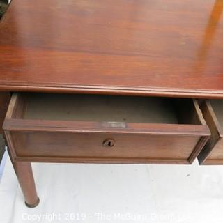 Furniture: Vintage: Antique: 2-Drawer Desk Top Mahogany Veneers