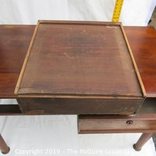 Furniture: Vintage: Antique: 2-Drawer Desk Top Mahogany Veneers