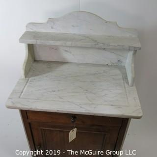 "Furniture: Vintage: Antique: Bathroom Vanity w/ White Mable top; 25W x 17D x 30""T"
