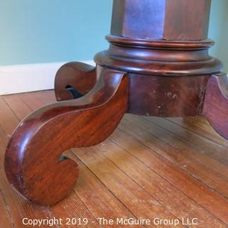 "Furniture: Vintage: Antique: 35"" Diameter Flame Mahogany Breakfast Table on Pedestal Stem with Quatrefoil Scrolled Feet;  27 1/2""T"