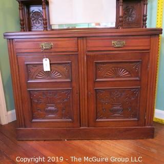 "Furniture: Vintage: Antique: Mirrored Sideboard: Ornate: Liquor Drawer; 46 x 17 x 70""T"