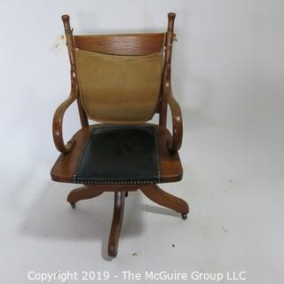 Furniture: Vintage: Office Chair on casters, curved oak arm rests, leather seat