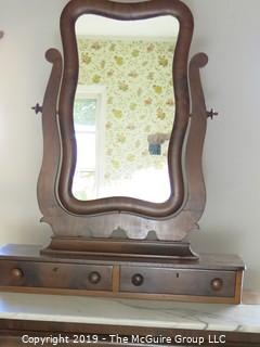 "Furniture: Antique: Vintage: Dresser: Circa 1830-40 3-Drawer Dresser w/ attached tilt 2-drawer mirror; bookmatched veneers. (See owners note attached  at time of purchase); 41W x 20D x 38""T; mirror is 34W x 38""T"