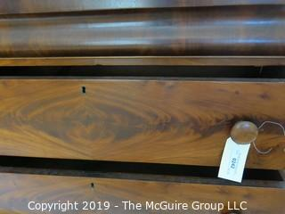 """Furniture: Antique: Vintage: Dresser: Circa 1830-40 3-Drawer Dresser w/ attached tilt 2-drawer mirror; bookmatched veneers. (See owners note attached  at time of purchase); 41W x 20D x 38""""T; mirror is 34W x 38""""T"""