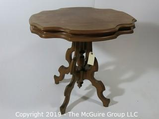 """Furniture: Antique: Vintage: Oval-ish pedestal small table; 22D x 27 1/2W x 27""""T"""