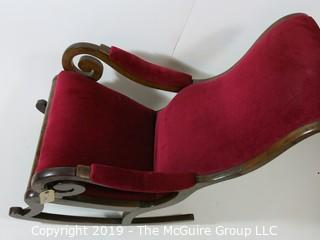 "Furniture: Vintage: Antique: Red Velvet Rocker; scrolled arms; 24W x 18D x 42""T"