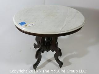 """Furniture: Antique: Vintage: Oval pedestal occasional table w/ white marble oval top; 29 x 23"""" top; 29""""T"""