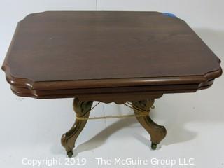 """Furniture: Vintage: Antique: Pedestal Table on quatrefoil elgs (needs repair); 29 x 20 x 16""""T"""