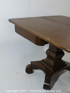 """Furniture: Vintage: Antique: 36"""" square Fold Over Rotating Game Table on pedestal with quatrefoil scrolled feet; 27""""T"""