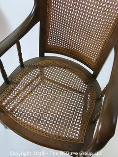 "Furniture: Vintage: Antique: Cain Woven Spindle Arm Chair; 21W x 18D x 37""T"