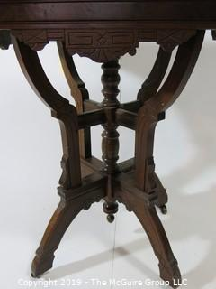 "Furniture: Vintage: Antique: Eastlake Pedestal Carved Table w/Reddish Marble Top (insert); 19W x 25D x 30 1/2""T"